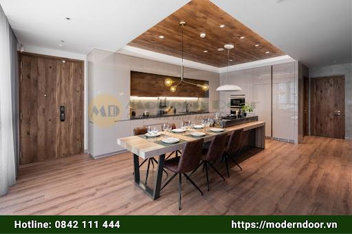 Mẫu cửa gỗ An Cường đẹp cho phòng bếp