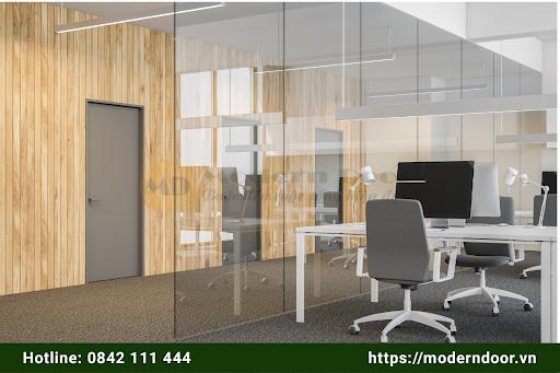Mẫu cửa văn phòng màu xám tối giản, tôn lên vẻ tinh tế cho tổng thể
