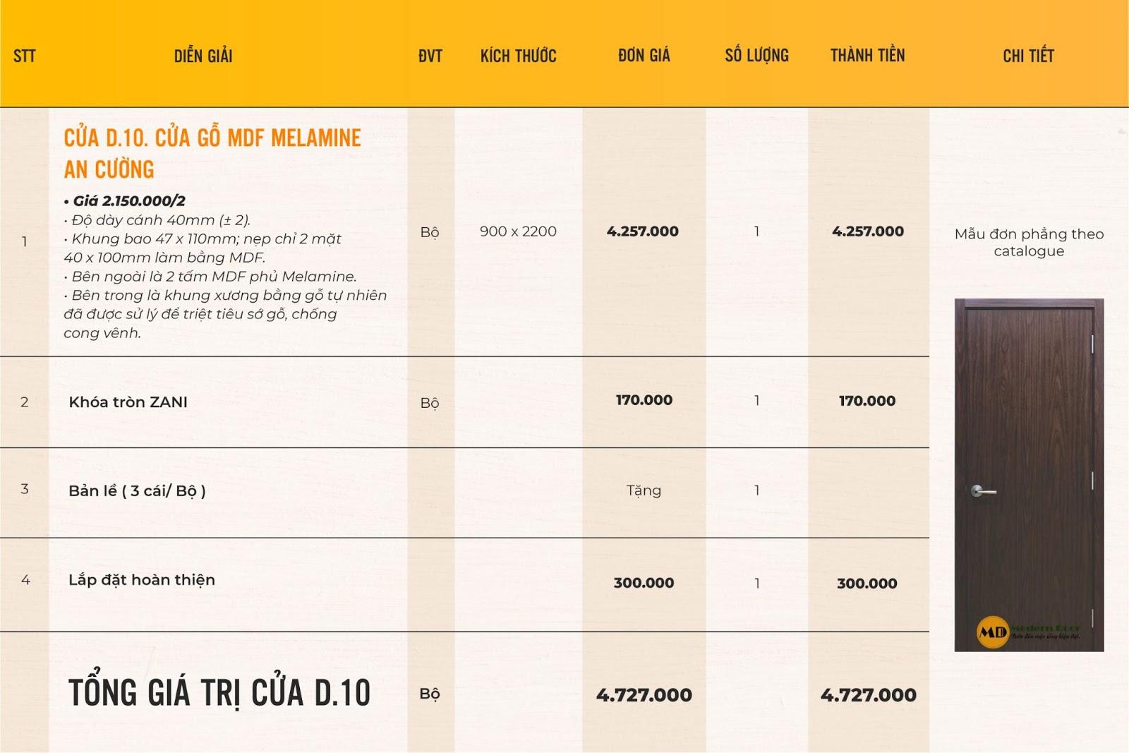 bảng giá cửa gỗ công nghiệp MDF Melamine
