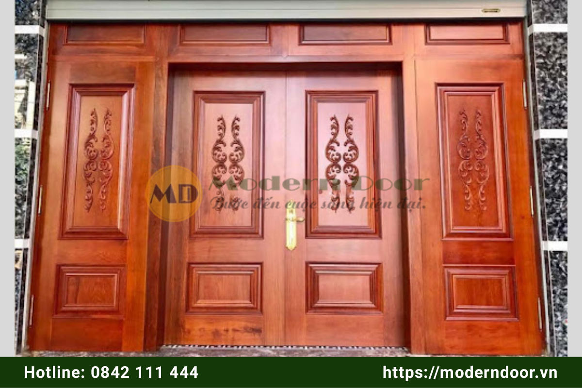 Mẫu cửa nhà vân gỗ đẹp