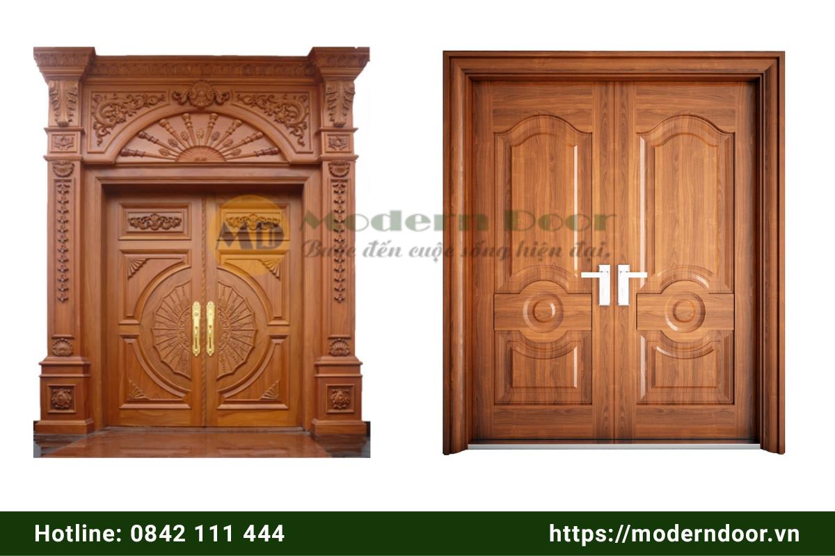 Mẫu cửa phòng khách bằng gỗ 2 cánh