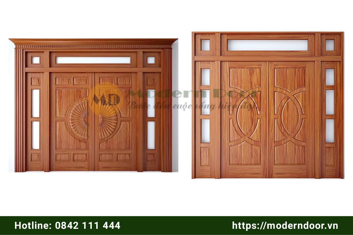 Mẫu cửa phòng khách bằng gỗ 4 cánh